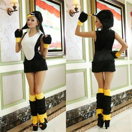 Wholesale Penguin Fancy Dress - Deluxe Cute Penguin Furry Costumes For Women Halloween Animal Cosplay Fancy Penguin Mini Dress Stage Clothing