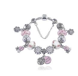 Wholesale Pandora Style Murano Beads - Fashion 925 Sterling Silver Pink & White Murano Lampwork Glass & Crystal European Charm Beads Fits Pandora Charm bracelets Style Bracelets