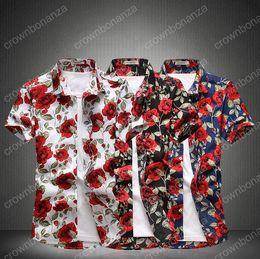 Wholesale Plus Size Shirts Slim - 2017 Fashion Men Slim Dress Shirt New Arrived Formal Short Sleeve Floral Print Turn Down Collar Men Shirts Plus size M~5XL