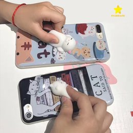 Wholesale Iphone Case Toys - 2017 Kawaii New 3D Squeeze Cat Silicon Cellphone Case for Apple iPhone 7 iPhone 6 Plus Squeeze Stretchy Toy Phone Cover