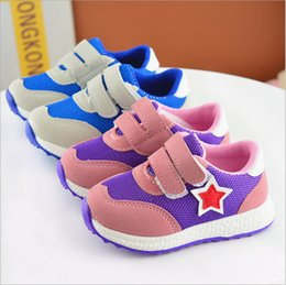 Wholesale Girls Kids Shoes Purple - China wholesalers 2017 spring star patchwork girl boy kids sneaker shoes sports running mesh rubber sole breathable hook loop blue purple