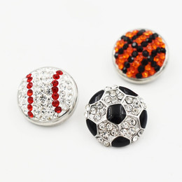 Wholesale Rhinestone Basketball Jewelry - 3 Style 18mm Rhinestone Baseball Soccer Basketball Button Snap Charms Fit For DIY Snap Button Bracelet Necklace Jewelry