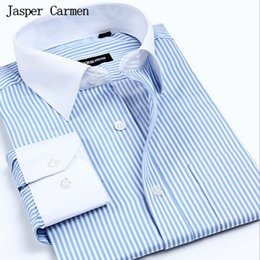 Wholesale 38 Sleeve Shirt - Wholesale- Free shipping Man Spring 2017 New Arrival Mens Shirts Long Sleeve Business Casual Slim Fit plus size S- 4XL Shirt For Men 38