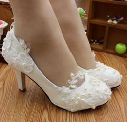 Chaussures de mariée en dentelle blanche femme plates-formes hauts talons brides pompes chaussures DG129 perles de demoiselles d'honneur de perles d'ivoire ? partir de fabricateur