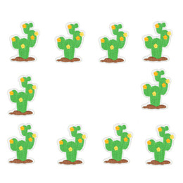 Wholesale Patches Flower Clothing - 10PCS cactus embroidery patches for clothing iron flower patch for clothes applique sewing accessories on stickers clothes iron on patches