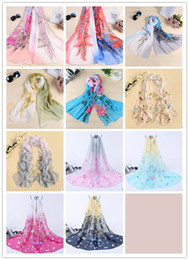Wholesale Bird Wrap - Fashion Peony Birds Printed Chiffon Scarf Autumn Winter Soft Thin Neckerchief Scarves Pashmina Hijabs For Women Ladies Gift
