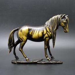 Wholesale Collectible Horse Statues - Antique Collection Folk Art Chinese Brass Hand-carved Horse statue