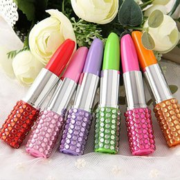 Wholesale Lipstick Pens Rhinestones - 500pcs Rhinestone Sexy Lipstick Shape Office Stationery Ballpoint Ball Pen Birthday Gifts For Girl Party Souvenirs Favor