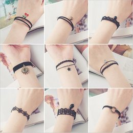 Wholesale Tattoos Nice - Cute and Elegant Korea Style Bracelets Stretch Velvet Classic Gothic Tattoo Lace Choker Nice Gifts Mixed Color Shipping