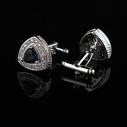 Wholesale Designer Cuff Links - Jewelry shirt cufflink for mens designer Brand Crystal Blue Cuff link Button gift High Quality Luxury Wedding Free Shipping