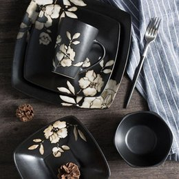 Pratos japoneses pratos on-line-Utensílios de mesa de Cerâmica japonesa Conjunto de Jantar de Jantar de Impressão Conjuntos de Louça Da Cozinha Pratos de Prato para Restaurante Frete Grátis ZA4862