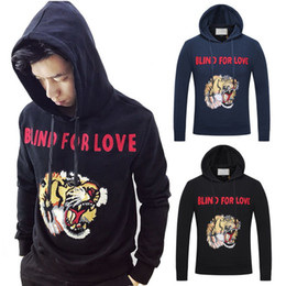 Wholesale Tiger Print Top Jumper - Plus Size 3XL Black Navy Blue Tiger Head Embroidery Hat Pullover Top 3D Printed Stretch Cotton Sweatshirt Jumper Wear Men