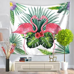 Wholesale Decorative Hang Wall - new Tropical Leaf Flamingo Wall Hanging Tapestry Decorative Sofa Chair Cover Fashion thin Beach Towel Table Cloth free shipping