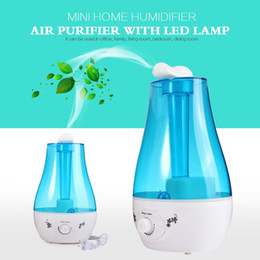 Wholesale Negative Ions Lamp - 25W Tabletop 3L Water Bottle Mini Home Ultrasonic Humidifier Purifier with LED Lamp Air Freshener Diffuser