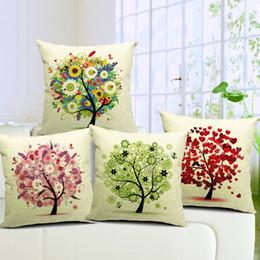 Pinturas de arte de la vida del árbol online-4 estilos Season Life Tree Cushion Covers Pinturas coloridas Primavera Verano Tree Art Fundas de cojines de Lino Decorativo Funda de almohada
