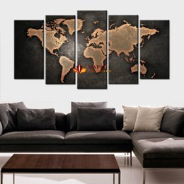 Wholesale Wall Painting Sets - 5 Pcs Set Modern Abstract Wall Art Painting World Map Canvas Painting for Living Room Home Decor Picture Artwork