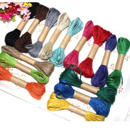 Wholesale jute string wholesale - Colorful Nature Jute Cord 200M 2mm Hemp Rope Craft Ribbon Festive Gift Packing Wrap String Rustic Wedding Party Decorative DIY Materials