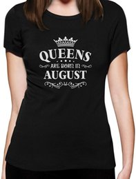 Wholesale Black Gildan Shirt - Fashion T Shirt Free Shipping Gildan Women'S Short Sleeve Birthday Gift For Women Queens Are Born In August Short Crew Neck