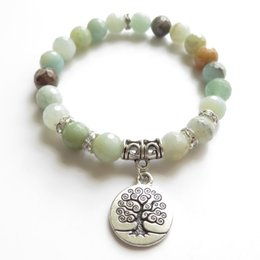 Wholesale amazonite jewelry - Tree Of Life Mala Bracelet Yoga Jewelry Wrist Faced Amazonite Meditation Mala Bracelet Healing Birthday Unique Gift NS1121