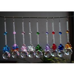 Wholesale Drop Ornament - 5PCS Glass Crystal Suncatcher Ball Prisms Pendant Hanging Drop Pendulum Prisms Window Ornament Home Decoration 30mm W016