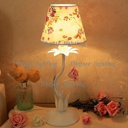 Wholesale Wrought Iron Table Lights - 1 piece Korean style wrought iron ceramic rose desk lamp  Children room warm small night lights  Creative decoration table lamp