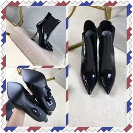 Wholesale Womens High Heeled Ankle Boots - Unique Design Fashion Womens Ankle Boots Real Leather Pointed Toe Special-Shaped Autumn Winter Boots 10cm Ladies Shoes Booties Size:35-40