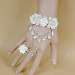 Wholesale Vintage Silver Snake Ring - Elegant fashion women bracelet with ring vintage princess white rose pearls pendant hand chain ring bracelet