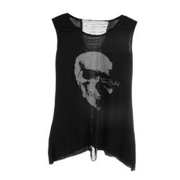Wholesale T Back Tank Tops Women - Wholesale-1pc Fashion Women's T Shirt Vintage Tassel Open Tank Pop Back Skull Punk Singlet Long Tee T-Shirt Sexy Lady Top 2016 Hot Sale
