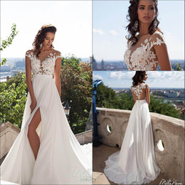 Wholesale Tops Front Lace - 2016 Sexy Illusion Cap Sleeves Lace Top Chiffon A Line Wedding Dresses Tulle Lace Applique Split Summer Beach Bridal Gown With Buttons