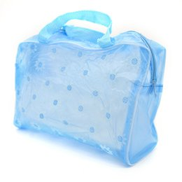Wholesale Transparent Hand Bags - Wholesale- 2017 Women Makeup Case Toiletry kits Bag Transparent Waterproof Beach handing Lady Travel Cosmetic Bag Girl