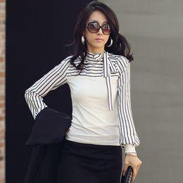 Wholesale Korean Polo Shirts - Korean Fashion Women Lady Ladies Slim T-Shirt Puff Long Sleeve Polo Neck Stripe Tops Black White