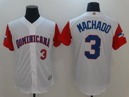 Wholesale Dominicana Jersey - New Dominicana Baseball 2017 World Baseball Classic Jersey #3 Machado White Color Stitched Size 40-56 Mix Order All Jerseys