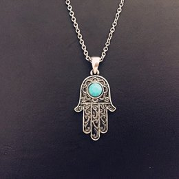 Wholesale Turquoise Hamsa Necklace - Wholesale-2015 New Vintage Silver Turquoise Hamsa Hand Fatima Palm Necklace For Women Fine Jewelry Wholesale 8263