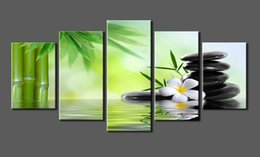 dipinti astratti bianchi neri rossi Sconti 5 Pannelli Canvas Print Pietra SPA, Bamboo Photo Canvas Art allungato e incorniciato pronto da appendere per la decorazione domestica