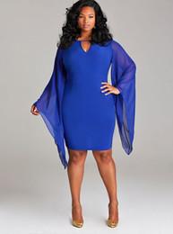 Womens Elegant Big Size Vêtements Fashion Batwing Sleeve Summer Casual Prom Robes de fête Sexy V Neck Sheath Bodycon Robe de bureau 17409 ? partir de fabricateur