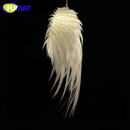 Wholesale Feather Pendant Lamp - FUMAT Modern Creative PVC Feather Pendant Light Dinning Room Living Room Lamp Bedroom Decoration Angel Wings Pendant Lamp