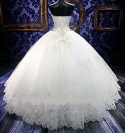 Wholesale High End Wedding Gowns - New fashion strapless sleeveless white lace Hollow high-end wedding dresses with bow custom high quality pretty women ladies wedding dress