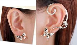 Wholesale Silver Butterfly Ear Cuff - Charm Earrings Ear Cuffs Punk Crystal Silver Plated rhinestone Butterfly Ear Bone Clips Gothic Earrings