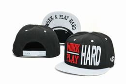 Wholesale Black Hard Hats - Work Hard Play Hard Snapback Hat Cap Fashion Hip Hop Snapbacks Men Women Summer Beach Sun Hats Cool Party Caps