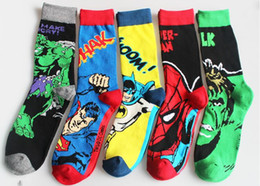 Wholesale Character Socks - Men's socks Superman Cartoon Character Sports Sweat Absorbent Breathable Cotton Pure Cotton Socks
