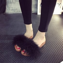 Wholesale Warm Fluffy Slippers - Wholesale- Autumn Winter Fur Furry Open Toe Women Slippers Casual Flat Shoes Soft Warm Fluffy Slip On Cute Home Floor Slippers