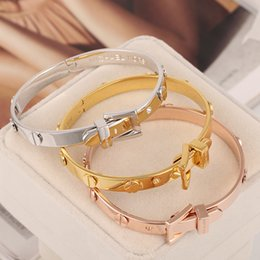 Wholesale Manning Materials Gifts - New arrival Paris belt style for women and man bangle jewelry Top quality brass material love punk bangle jewelry free shipping PS5222A