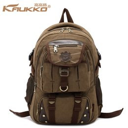 Wholesale Kaukko Canvas Bags - Wholesale- KAUKKO Men's Canvas Backpack Leisure Travel Bag Backpack Vintage Fashion Men's Laptop Backpacks School Shoulder Bag
