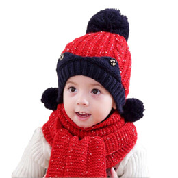 Wholesale Thick Knit Scarf Sets - Unisex Child Beanies Cap Set Baby Kids Thick Cable Knit Bobbles Hat and Scarf Winter Warm Suit Set MZ5241