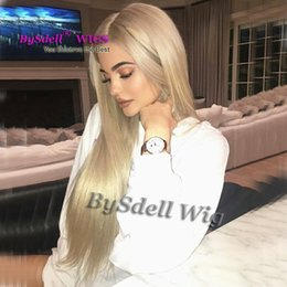 Wholesale Platinum Lace Wigs - New Arrival Celebrity Kylie Jenner Ash Blonde Color Straight Hairstyle wig Synthetic Glueless Lace Front Wigs Platinum Blonde