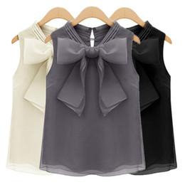 Wholesale White Blouse Black Bow - Women Lady Girls Summer Fashion Chiffon Short Sleeve Bowknot V-neck Loose Tops Shirts Blouses Clothes 3117