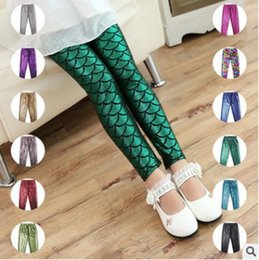 Wholesale Baby Clothes Fishing - Hot sale new multicolor Children fish scale Leggings Girls Tights Summer Funky Leggings kids Leg Warmers baby trousers Toddler Clothes A735