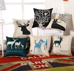 "Wholesale Head Throw - Simple Cotton Linen Square Throw Flax Pillow Case Decorative Cushion Cover Deer Antlers Elephant Head Rhinoceros 18 ""X18 """