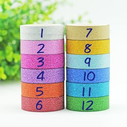 Wholesale Crafting Glitter - Wholesale- 2016 1PCS 1.5CM*3M Glitter Washi Tape Sticker Paper Masking Adhesive Office School Tape Label Craft For DIY Decorative Random C
