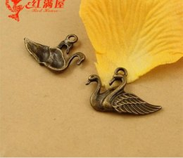 Wholesale Mandarin Duck Jewelry - 30*20MM Zinc alloy retro bronze mandarin duck charms necklace pendant, handmade DIY metal mobile jewelry accessories materials wholesale